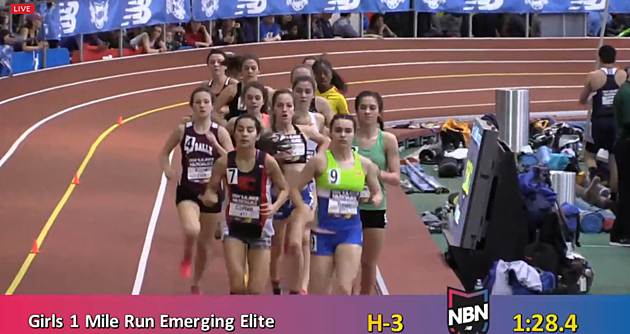Tia Tardy Leading New Balance Nationals Heat 3 Emerging Elite 1 Mile Race March 11, 2017 via Live Webcast