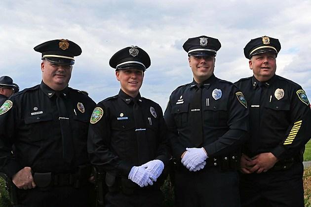 (L-R) Southwest Harbor Chief Alan Brown, Officer Levi Soper, Officer Brady Smith, Bar Harbor/Mount Desert Chief Jim Willis